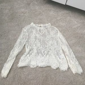 Charlotte Russe Mock Neck See Through Lace Top